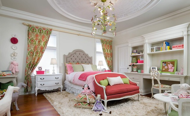 candice olson Kids Victorian with built-in desk chandelier curtain