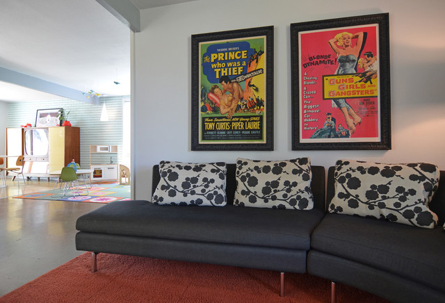 Cantoni Furniture Family Room Midcentury with 50s Black Sofa Bold