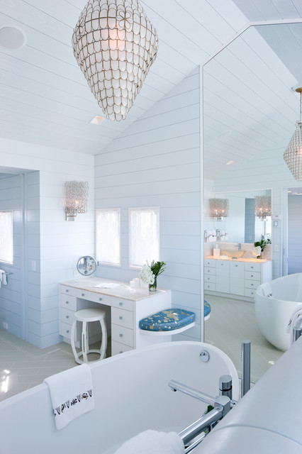 capiz chandelier Bathroom Beach with back lighting backlit bathtub