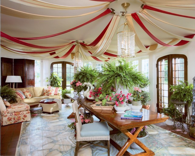 carnival tent Sunroom Traditional with chandelier crystal ceiling fixture