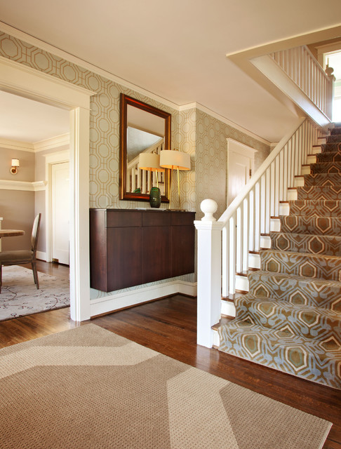 Carpet Runner for Stairs Entry Craftsman with Base Molding Cantilevered Console