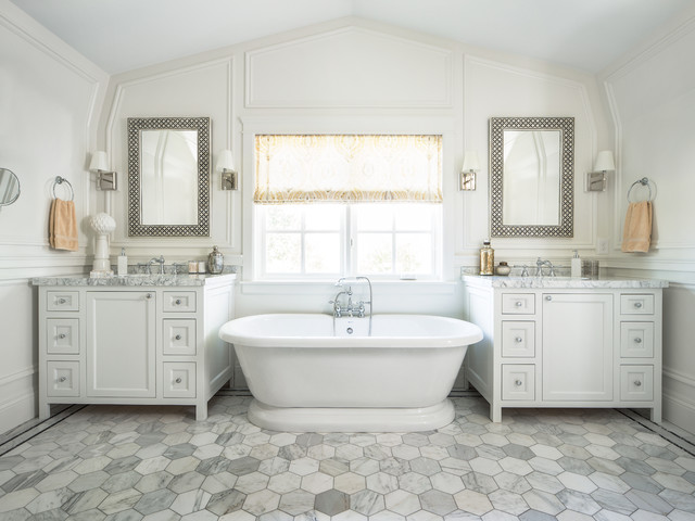 carrara marble tile Bathroom Traditional with Carrara marble Custom Cabinets