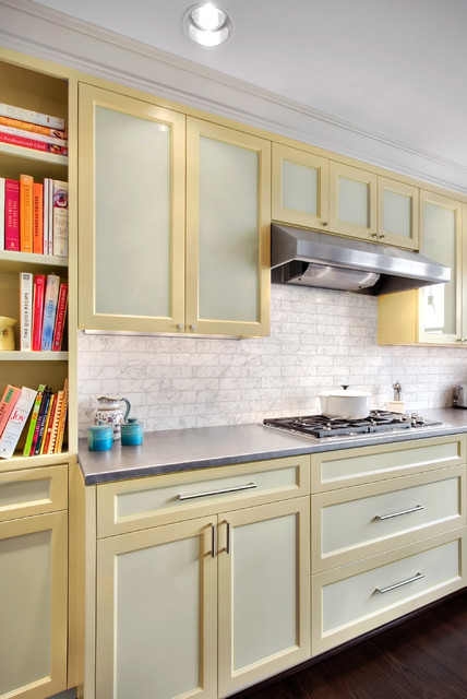 Carrara Marble Tile Kitchen Contemporary with Backsplash Bookshelves Carrara Marble