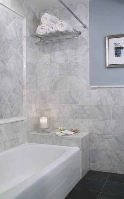 Carrera Marble Bathroom Eclectic with Blue Walls Floor Tile