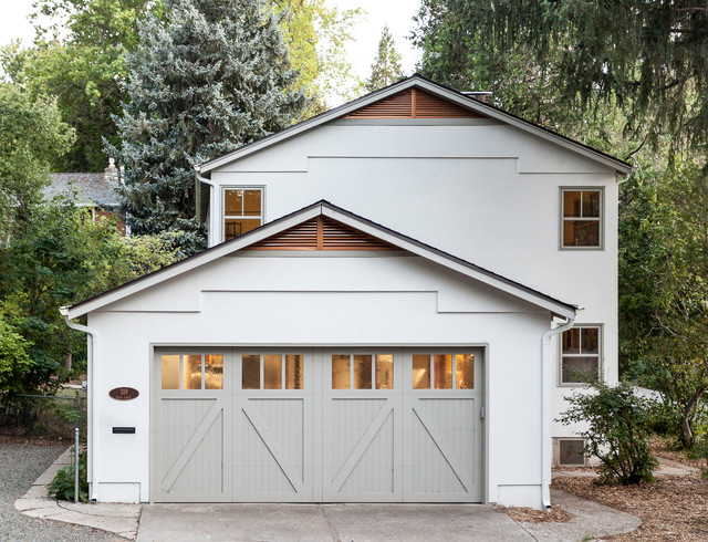 Carriage House Garage Doors Exterior Transitional With