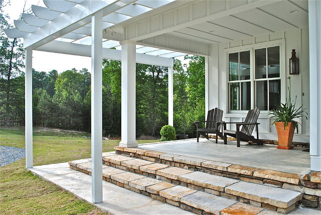 cb2 locations Porch Traditional with 2-over-2 windows Adirondack chairs