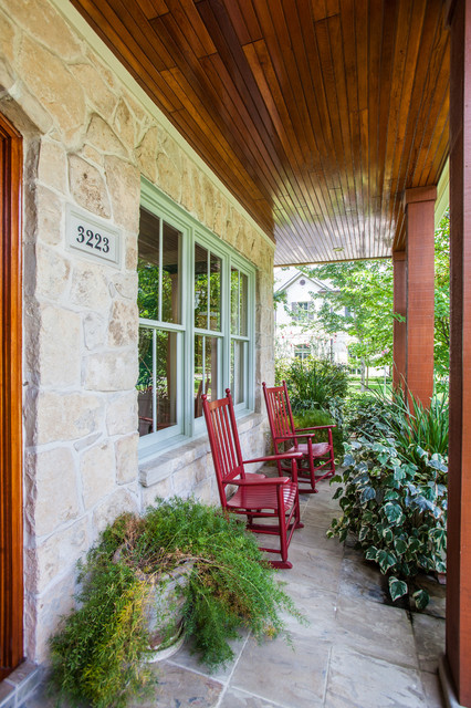 Cb2 Locations Porch Traditional with Beige Stone Siding Container