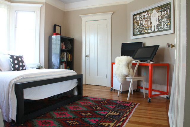 Cb2 Rugs Bedroom Eclectic with Area Rug Bed Bold