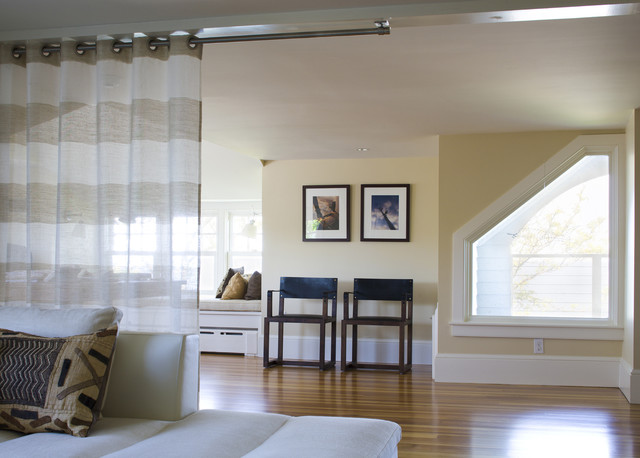 Ceiling Curtain Rod Family Room Beach with Angled Window Beige Bench