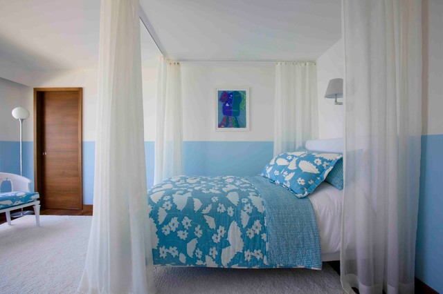 ceiling curtain track Bedroom Eclectic with bedding bench blue and