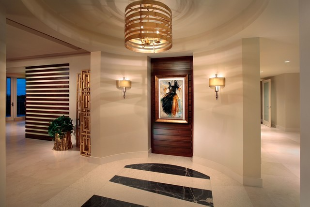 Ceiling Medallion Entry Contemporary with Artwork Beige Floor Beige
