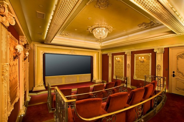 Ceiling Medallion Home Theater Traditional with Beige Column Beige Door
