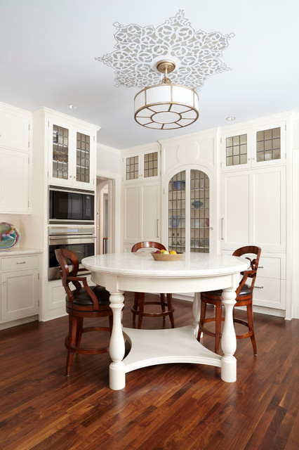 Ceiling Medallion Kitchen Traditional with Cabinet Front Refrigerator Ceiling Lighting