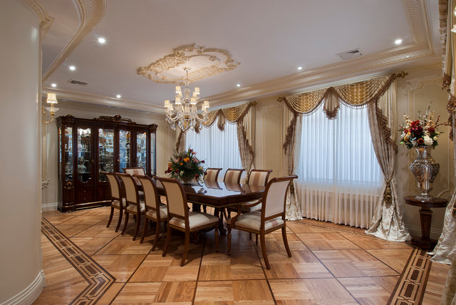 Ceiling Medallions Dining Room Traditional with Beige Dining Chair Beige