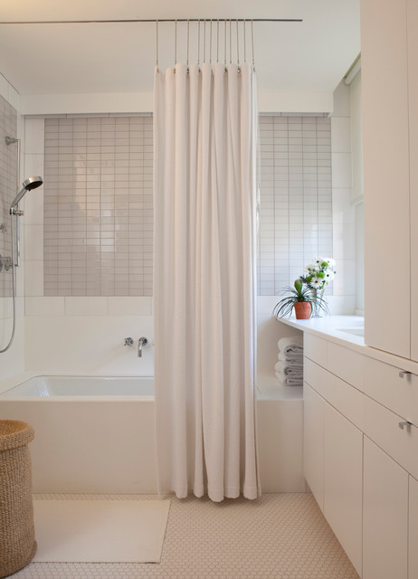 Ceiling Mounted Curtain Rods Bathroom Contemporary with Basket Bath Mat Bathroom