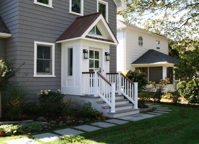 Certainteed Vinyl Siding Exterior Transitional with Copper Roof Entrance Entry