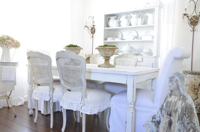 Chair Slipcover Dining Room Shabby Chic with Cane Furniture Centerpiece Chair