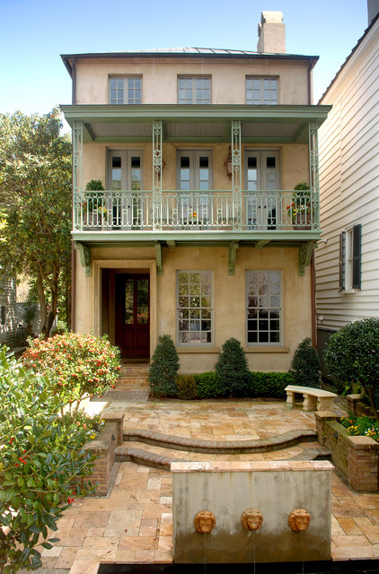 Charleston Homes Omaha Exterior Traditional with Charleston Courtyard Courtyard Fountain