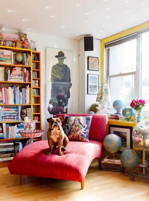 Cheap Chaise Lounge Living Room Eclectic with Bookshelves Bright Colors Collectibles