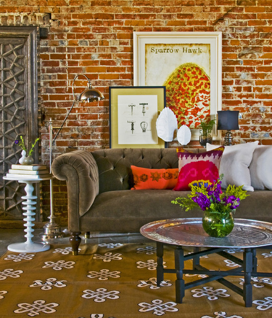 Chesterfield Sofa Living Room Eclectic with Brick Wall Chesterfield Sofa
