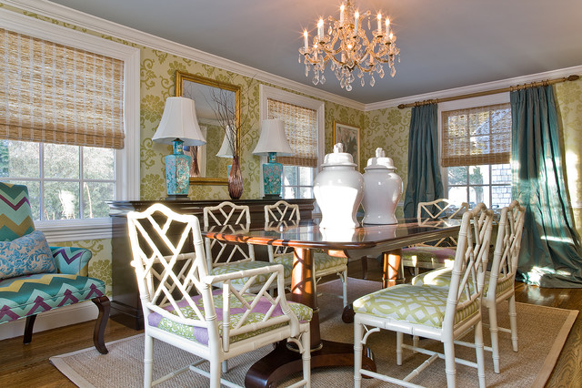 chinoiserie chic Dining Room Transitional with area rug bamboo centerpiece