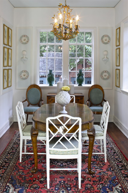 Chippendale Chairs Dining Room Traditional with Area Rug Bamboo Dining