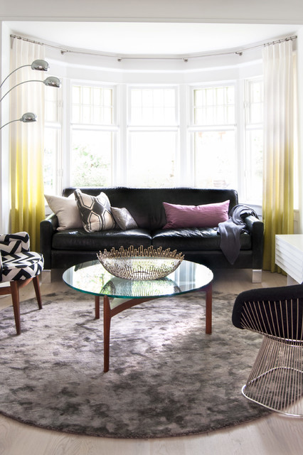 circular rugs Living Room Contemporary with accessories black and white