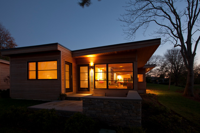clapboard siding Exterior Modern with architecture exterior lighting Hingham