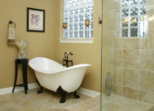 Clawfoot Tubs Bathroom Traditional with Clawfoot Tub Frameless Shower1