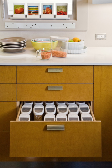 Clear Plastic Storage Bins Kitchen Contemporary with Caesarstone Countertop Kitchen Drawer
