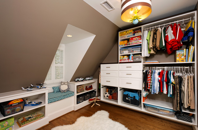 Closet Organizing Systems Closet Traditional with Attic Brown Walls Built