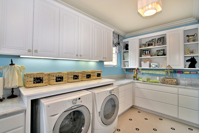 Clothes Armoire Laundry Room Contemporary with Blue Wall Floor Tile