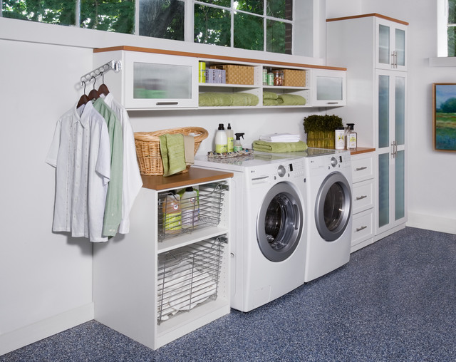 clothes valet Laundry Room Contemporary with artwork built in built-in