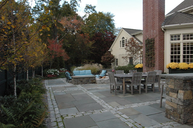 Cobblestone Pavers Patio Traditional with Border Plantings Brick Chimney