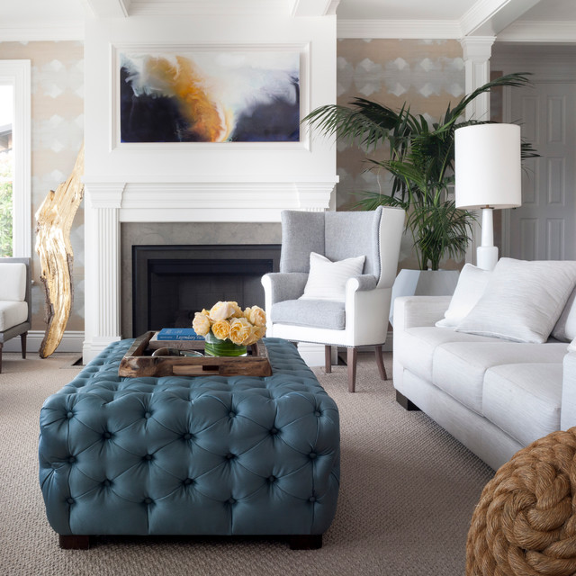Cocktail Ottoman Living Room Transitional with Abstract Art Blue Ottoman