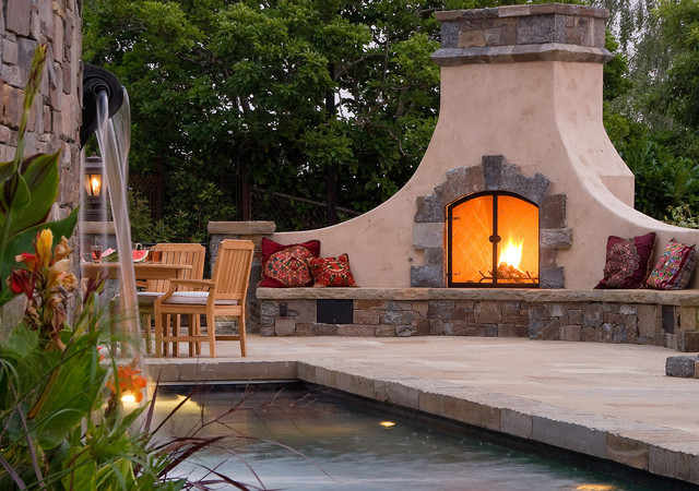 Cody Pools Patio Mediterranean with Artisan Built in Bench Seat