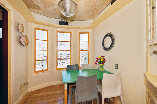 colanders Dining Room Contemporary with bay window ceiling colander