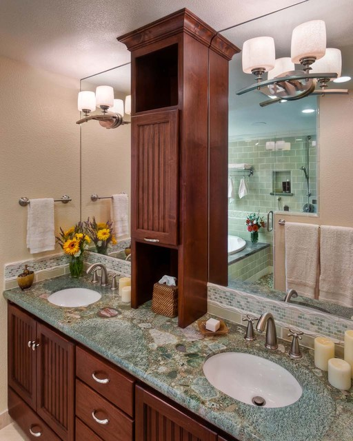Cold Spring Granite Bathroom Contemporary with Beadboard Brushed Nickel Counter