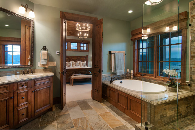 Cold Spring Granite Bathroom Rustic with Double Doors en Suite