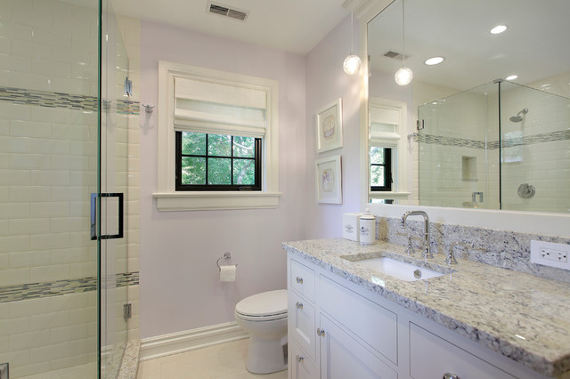 Colonial Cream Granite Bathroom Contemporary with Baseboards Lavender Walls Pendant