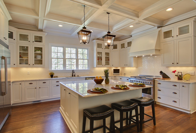 Colonial Cream Granite Kitchen Traditional with Bin Pulls Coffered Ceiling