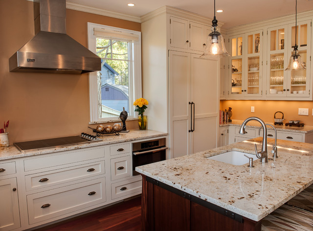 Colonial Cream Granite Kitchen Traditional with Bin Pulls Cup Pulls