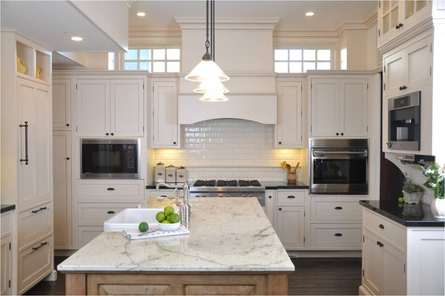 Colonial Cream Granite Kitchen Traditional with Cabinets Dormer Windows Kitchen
