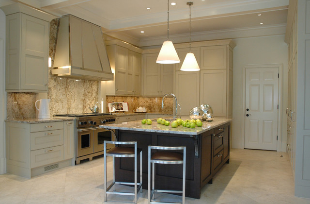 Colonial Cream Granite Kitchen Transitional with Breakfast Bar Ceiling Lighting