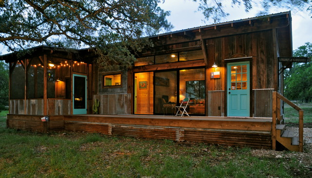 Composite Lumber Exterior Rustic with Aqua Door Corrugated Metal