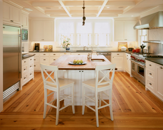 Composite Lumber Kitchen Traditional with Bin Pull Coffered Ceiling