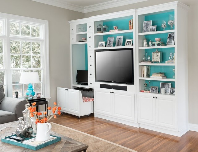 Computer Armoire Family Room Contemporary with Built in Bookcase Built in Bookshelf