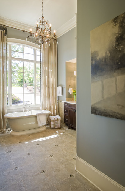 Concrete Stamping Bathroom Traditional with Crystal Chandelier Custom Home