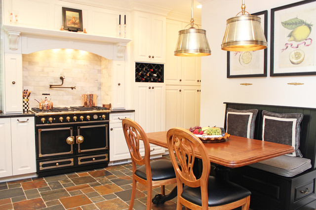 Conestoga Cabinets Kitchen Traditional with Banquette Black Cabinetry Breakfast