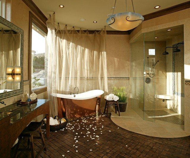 Copper Bathtub Bathroom Mediterranean with Bowl Chandelier Brick Floors